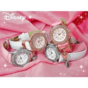 Disney ディズニー ミッキーハートチャーム 腕時計 ☆スワロフスキー30石☆【クリスマスプレゼントにも!】|alljewelry