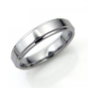 タングステン リング 段付平打 4.0mm幅 シルバー【即納】|alljewelry