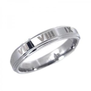 タングステン リング 段付ローマ数字 4.0mm シルバー【即納】|alljewelry
