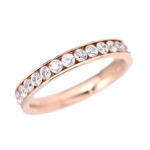ステンレス CZフルエタニティリング ピンク【即納】|alljewelry
