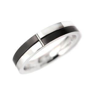 ステンレス 内側CZ入り 4mm幅チェックマット  リング ブラック|alljewelry