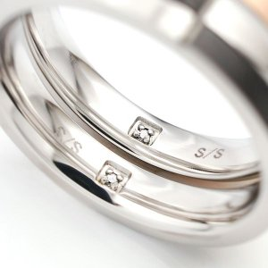 ステンレス 内側CZ入り 4mm幅チェックマット  リング ブラック|alljewelry|03