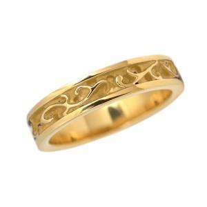 ステンレス 5mm幅平打アラベスクリング ゴールド|alljewelry