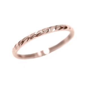 ステンレス 1.2mm幅 槌目リング ピンクゴールド【即納】|alljewelry