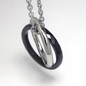 タングステン&ステンレス ペンダント トップ ダブルリング ブラック【即納】 alljewelry