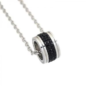 ステンレス 3列リング ペンダント トップ ブラック【即納】|alljewelry