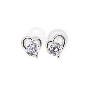 K10WG 3mmラウンド石 オープンハートピアス【誕生石】【7月から12月】|alljewelry