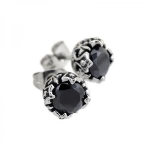 ステンレス CZフレアデザインスタッド ブラック【即納】|alljewelry