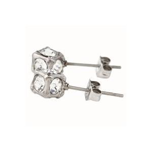 ステンレス4mmスワロフスキー・キューブ型スタッドピアス シルバー【即納】|alljewelry|03
