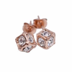 ステンレス4mmスワロフスキー・キューブ型スタッドピアス ピンクゴールド【即納】|alljewelry