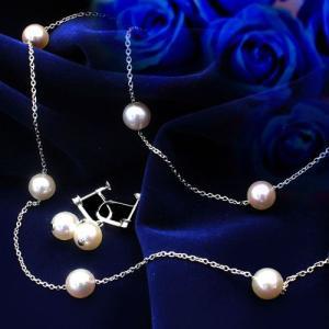 花珠あこや本真珠 7.5〜8.0mmステーションネックレス&イヤリングSET】【鑑別書付き】|alljewelry