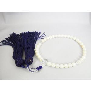 【片手念珠(白)】 あこや本真珠 6.5〜7.0mm 人絹/紫房|alljewelry