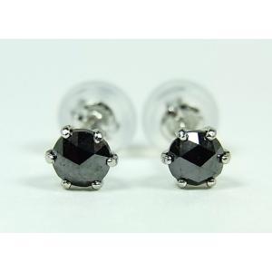 プラチナ ブラックダイヤモンド ピアス 0,3CT|alljewelry