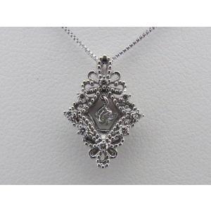 K18ホワイトゴールド 菱形 0.150CTダイヤモンドペンダントネックレス|alljewelry