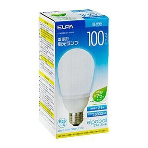 ☆ELPA エルパボール 電球形蛍光ランプ(蛍光灯ランプ) A形 100W形 3波長形昼光色 E26口金 EFA25ED/21-A101H|alllight