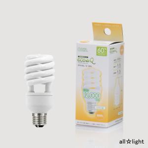 ☆オーム電機 電球形蛍光灯 D形 エコデンキュウ スパイラル形 60形(60W形) 3波長形電球色 E26口金 EFD15EL/12-SPN (06-0241)|alllight