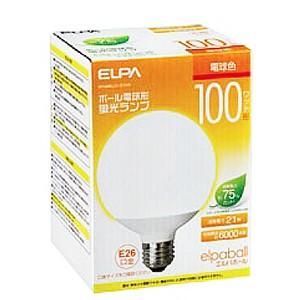 ☆ELPA エルパボール 電球形蛍光ランプ(蛍光灯ランプ) G形 ボール電球形 100W形 3波長形電球色 E26口金 EFG25EL/21-G102H alllight
