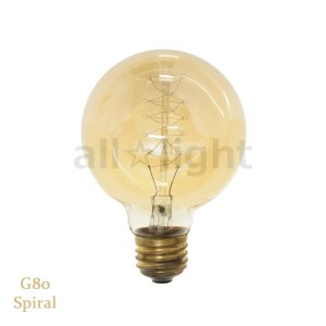 ☆★ エジソンバルブ(エジソン電球) ボール球形 G80 E26 110V 40W Spiral G80 E26 110V 40W S|alllight