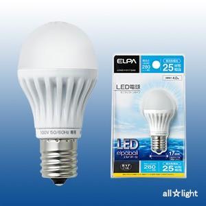 ☆ELPA エルパボール LED電球 ミニクリプトンタイプ 4.0W 昼光色相当 E17口金 280lm 25W相当 LDA4D-H-E17-G402 ≪特別限定セール!≫ ≪あすつく対応≫