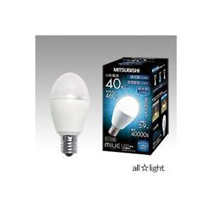 ☆三菱 LED電球 MILIE(ミライエ) 小形電球形 昼光色タイプ 小形電球40W形相当 460lm 全方向タイプ E17口金 密閉器具対応 調光器対応 LDA6D-G-E17/D alllight