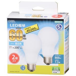 オーム電機 LED電球 一般電球形 昼白色 白熱電球60W形相当 E26口金 [2個入] LDA7N-G AG53 2P(06-3300)|alllight