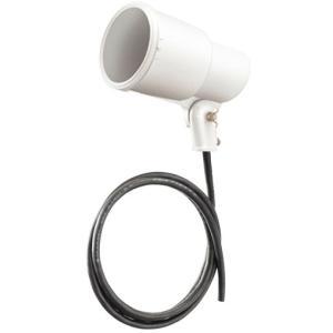 ☆岩崎 S形アイランプホルダ(投光器) 屋外用 フードなし レフランプ・セルフバラスト水銀ランプ用 E39 白色(ホワイト) 口出線1.8m S0/W-L14|alllight