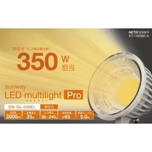 ☆サンウェイ LEDマルチライト・プロ 屋外対応LED投光器(作業灯) 35W 3000lm 屋外用レフランプ350W相当 電球色(3000K) 防塵 防雨(IP65) 電源5m SW-GL-030EL|alllight