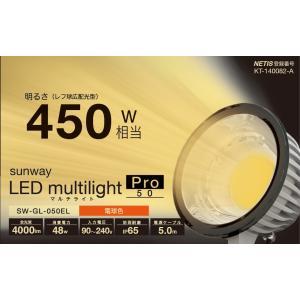 ☆サンウェイ LEDマルチライト・プロ50 屋外対応LED投光器(作業灯) 48W 4000lm 屋外用レフランプ450W相当 電球色(3000K) 防塵 防雨(IP65) 電源5m SW-GL-050EL|alllight