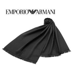 エンポリオ・アルマーニ ウールマフラー(ブラック×ブラック) 17秋冬モデル EA-332 allzoo