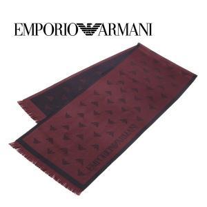 エンポリオ・アルマーニ ウールマフラー(エンジ×ブラック) 17秋冬モデル EA-337 allzoo