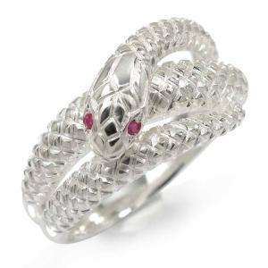 蛇 リング ルビー ヘビ シルバー925 指輪 スネーク ピンキー 爬虫類 メンズ ユニセックス  ...