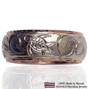 ハワイアンジュエリー リング 指輪 オーダーメイド 幅8mm 14K ゴールド 2トーンリング バレルリング ハワイ製 手彫りリング メンズ レディース|aloalo