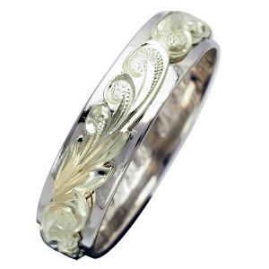 ハワイアンジュエリー リング 指輪 オーダーメイド 幅6mm 14K ゴールド 2トーンリング バレルリング ハワイ製 手彫りリング メンズ レディース|aloalo