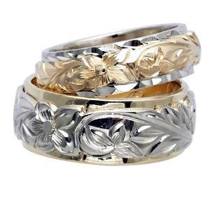 ハワイアンジュエリー リング 指輪 オーダーメイド 14金2トーン オーダーメイド ペアリング特価セット! 8mmと6mm幅 2.25mm厚め|aloalo