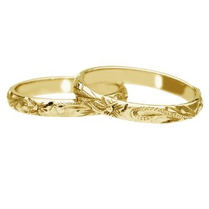 ハワイアンジュエリー リング 指輪 オーダーメイド 14金バレル オーダーメイド ペアリング特価セット! 3mm幅 1.5mm基本の厚み|aloalo