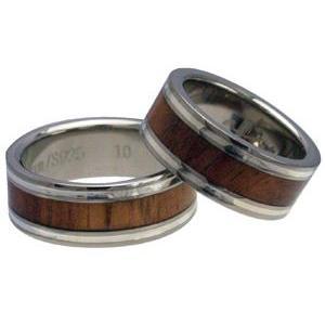 ハワイアンジュエリー リング 指輪 alamea 8mm コアウッド シルバーライン チタン ペアリ...