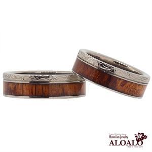 ハワイアンジュエリー リング 指輪 alamea イングレーブライン コアウッド チタン ペアリング 刻印 aloalo