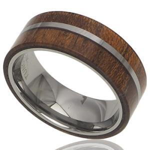 ハワイアンジュエリー リング 指輪 タングステン 2ライン コアウッドリング ハワイアンコアウッド 刻印 aloalo