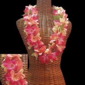 ハワイアンレイ ボリュームのある小花付 プルメリアダブルレイ ピンクイエロー