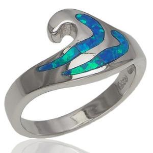 ハワイアンジュエリー リング 指輪 シルバー925 シンセティックオパール ウェーブリング ロジウムコーティング 波 aloalo