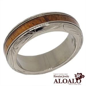 ハワイアンジュエリー リング 指輪 alamea コアウッド チタン リング 波柄 スクロール コアウッドリング 6mm ハワイアンコアウッド 刻印 aloalo