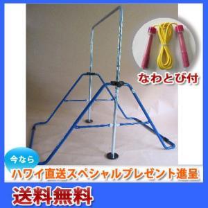 子供用 健康鉄棒 SGマーク付き 折りたたみ式 FM-1534 ブルー<なわとびプレゼント> aloha-fit