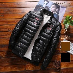 革ジャン メンズ 中綿 ジャケット レザージャケット ジャンパー はおり レザー中綿ジャケット アウター コート 防寒|aloha0118