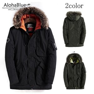 ミリタリーコート メンズ N-3B N-2B ミリタリーアウター アウターコート フライトジャケット N3B ロング丈 ファーフード 防寒 中綿コート 2020|aloha0118