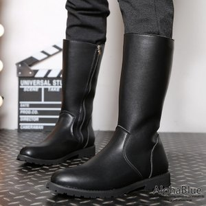 長靴 メンズ ペコスブーツ 裏起毛 ワークブーツ ロングブーツ レインシューズ ブーツ 革靴 皮靴 紳士靴 サイドZIP 2019 新生活|aloha0118