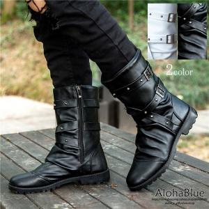 エンジニアブーツ メンズ ブーツ ミリタリーブーツ 皮靴 革靴 ワークブーツ PUレザー ロングブーツ 防水 紳士靴 ブラック ホワイト 2019 新生活|aloha0118