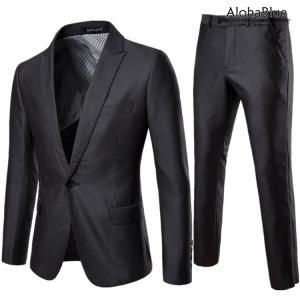 スーツ メンズ セットアップ 2ピーススーツ 光沢 フォーマルスーツ スリム ビジネススーツ 1ツボタン 結婚式|aloha0118