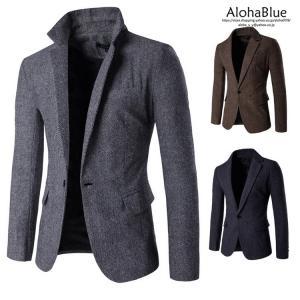 ビジネススーツ シングル 1つボタン スーツジャケット テーラードジャケット ビジネスジャケット ツイード調 細身 春服 春物 新生活|aloha0118