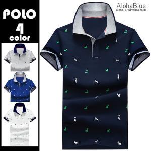 ポロシャツ メンズ POLO ゴルフウェア トップス カットソー 半袖ポロ tシャツ 鹿プリント 小...
