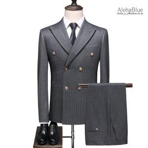ダブルスーツ メンズ 3ピーススーツ 6つボタン スリーピース スリーピー ビジネススーツ ストライプ柄 細身 スーツ セットアップ 春夏 紳士|aloha0118